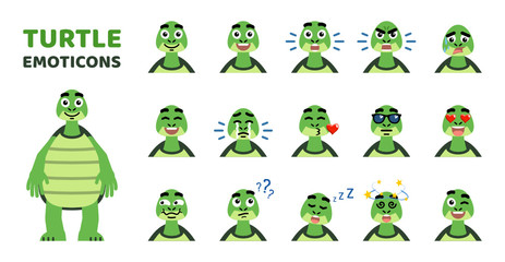 Set of cartoon turtle emoticons. Funny turtle avatars showing various facial expressions. Happy, sad, laugh, cry, angry, sleepy, dazed, serious and other emotions. Flat style vector illustration