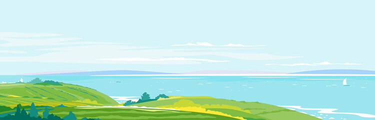 Panorama of the seaside from the coastal hills overgrown with vegetation, agricultural fields, hills and meadows near the sea coast, summer countryside with green hills, rural landscape