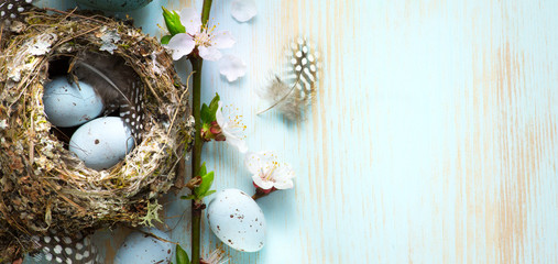 decorated Easter eggs in nest and spring flower on table background