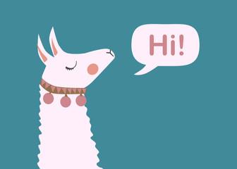 Cute Lama face. Llama cartoon alpaca. Llama animal vector isolated illustration. Design for card, sticker, fabric textile, t-shirt. Children, child of modern trendy style
