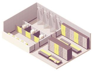 Vector isometric locker room