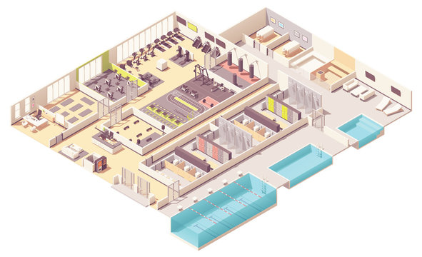 Vector isometric fitness club with swimming pool