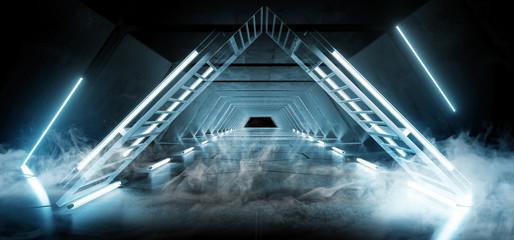 Smoke Fog Triangle Pyramid Neon Glowing Sci Fi Blue Futuristic Concrete Empty Grunge Reflective Room Vibrant Spectrum Fluorescent Luminous Lasers Hall Tunnel Corridor Alien Spaceship 3D Rendering Wall mural