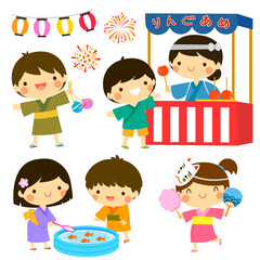 Clip art set of kids celebrating the Japanese summer festival. The Japanese text says candy apples.