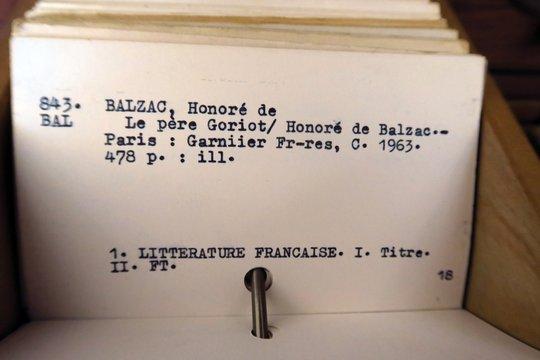 Balzac Le Père  Goriot fiche de catalogue de bibliothèque