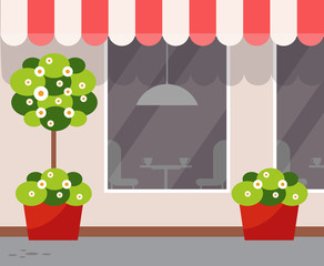Exterior of eatery, coffeehouse design vector. Outdoor view on restaurant with plants growing in pots, blooming trees with trunk and bushes, coffee store