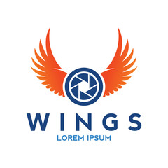wings logo with camera icon vector template design