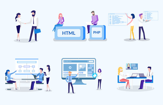 People working on new technological advancement vector, html and php, programmers and coders, man and woman on meeting. Agreement between partners at work
