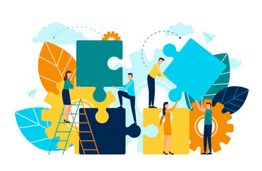 People with puzzle pieces vector, man and woman standing on ladder, foliage and flora. Cogwheel symbol of process and improvement project development
