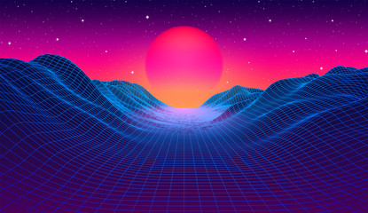 80s synthwave styled landscape with blue grid mountains and sun over canyon