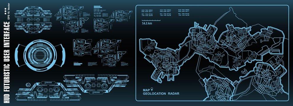 Futuristic navigate mapping technology, dashboard GPS map. HUD user interface, virtual reality technology screen.
