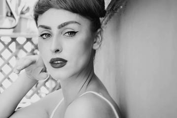 Beautiful woman profile pose
