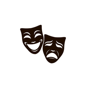illustration of comedy and tragedy theatrical masks isolated on white background