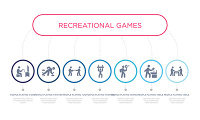 simple illustration set of 7 vector blue icons such as people playing table football, people playing table tennis, people playing tennis, _icon4, tug of war, twister, video game. infographic design