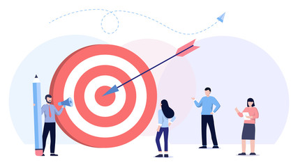 Big target, manager and employees engaged in company goals. Internal marketing, company goals promotion, employee engagement concept. Header or footer banner template. Teamwork, leadership