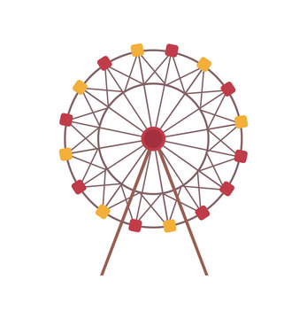 Amusement park vector, isolated icon of ferris wheel construction, rounded shape of attraction for kids and adults. Roundabout, carousel spinning