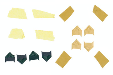 photo corners and strips of adhesive tape for mounting picture or photographs, isolated