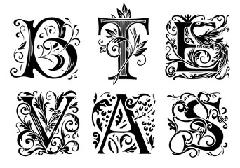 Vector set of six decorative hand drawn initial letters. English letters in vintage style. Fancy letters with curls. Black and white illustration.