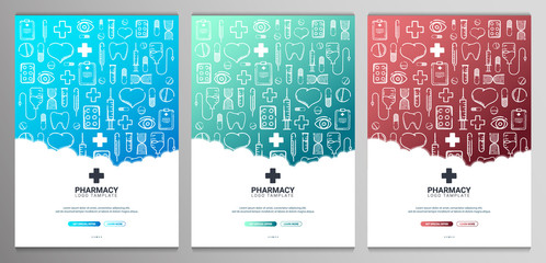 Set of Pharmacy and Medical banners with doodle background. Pills, Vitamin tablets, medical drug. Vector Illustration.
