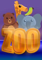 Zoo concept banner. Cartoon illustration of zoo vector concept banner for web design