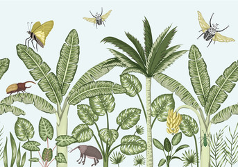 Vector seamless border background with tropical plants and insects. Vintage horizontal seamless  backdrop. Exotic jungle wallpaper.