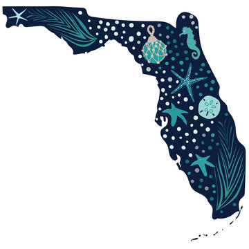 Beautiful Florida state illustration filled with sea grass, sea stars, sand dollar, seahorse and fish net float. Great for tourism, travel, editorial, ecology, beach and resort related activities.