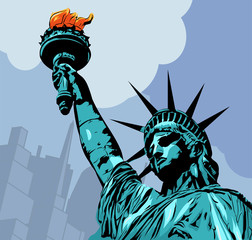 Statue of Liberty with cityscape vector pic