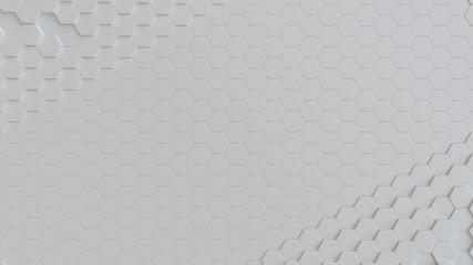 Fotobehang - Hexagonal white background texture. 3d illustration, 3d rendering