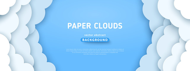 Clouds on blue sky border