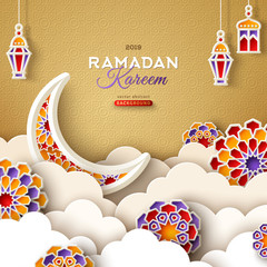 Ramadan Kareem Gold Banner with Moon