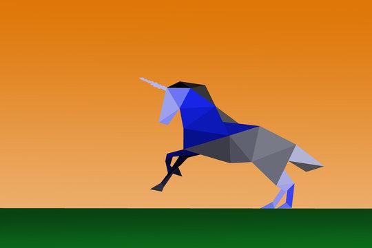 licorne au galop en origami
