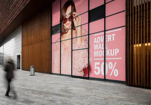 Large Wall Advertisement in Shopping Mall Mockup