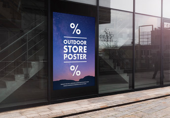 Outdoor Advertisement on Building Wall Mockup