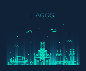 Fototapete - Lagos skyline Nigeria vector city linear style