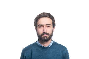 Fototapeta portret of young handsome man with a beard on a white background obraz