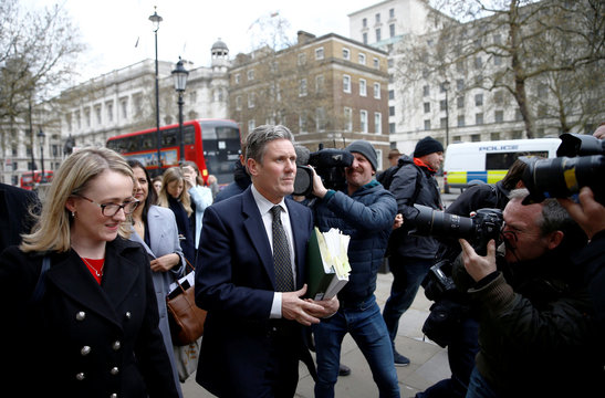 Britain's Labour Party's Shadow Secretary of State for Departing the European Union Keir Starmer and Labour Party's Shadow Business Secretary Rebecca Long-Bailey leave the Cabinet Office, in London