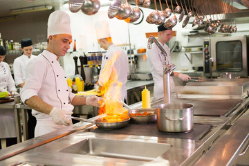 work of a group of chefs in a luxury restaurant.