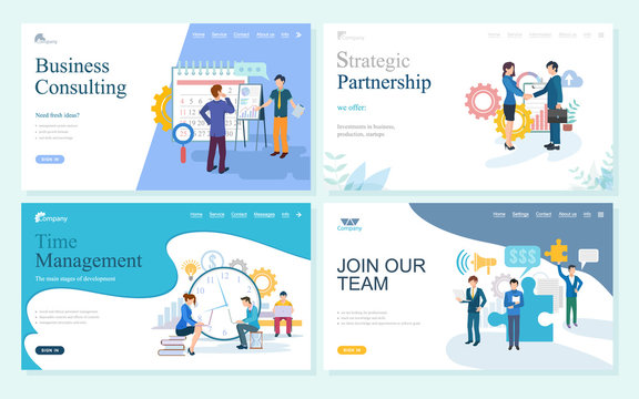 Websites with business consulting vector, join our team, strategic partnership and time management. Partners planning calendar, meeting of people. Website or webpage template, landing page flat style