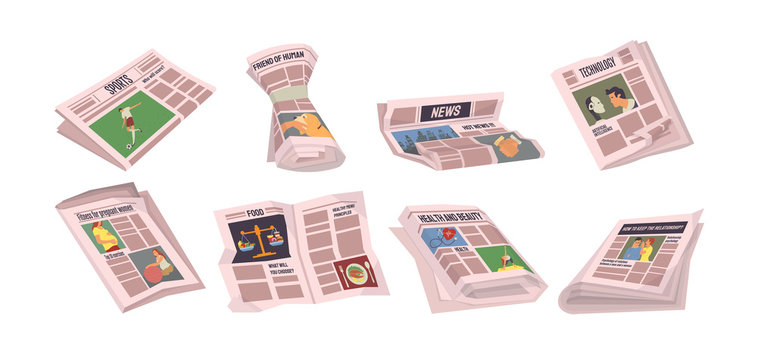 Newspapers with sports events vector, set of paper with information. Tabloids with food and technology innovations, politics and daily articles, health