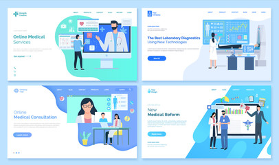 Online medical services vector, best laboratory diagnostics using new technologies, consultation of doctor, treatment and receipt from specialist. Website or webpage template, landing page flat style