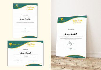 Certificate of Achievement Layout with Green and Gold Accents
