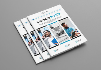 Company Profile Brochure with Blue Accents