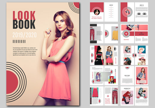 Dark Red Lookbook with Abstract Design Elements
