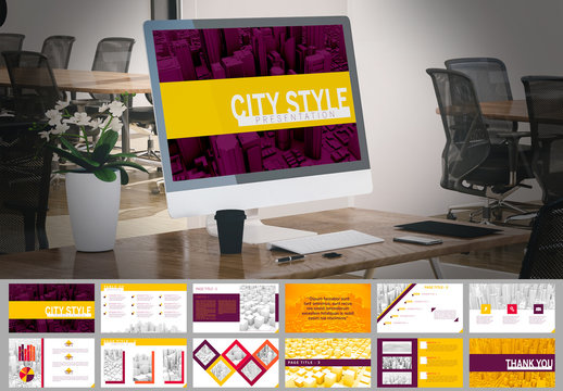 Urban Presentation Layout with Purple and Yellow Accents and Skyscraper Backgrounds
