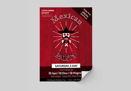 Mexican Party Poster Layout with Wood Background