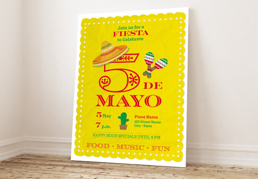 Cinco de Mayo Party Poster Layout with Yellow Paper Background
