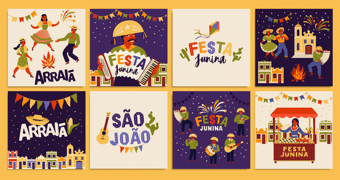 Festa Junina. Vector templates for Latin American holiday, the June party of Brazil. Design for card, poster, banner, flyer, invitation.