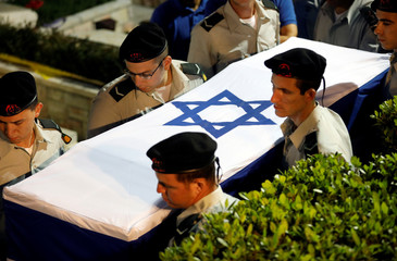 Funeral of Zachary Baumel, a U.S.-born Israeli soldier missing since a 1982 tank battle against Syrian forces and whose remains were recently recovered by Israel, at the Mount Herzl military cemetery in Jerusalem
