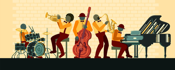 Poster on Jazz day April 30 where Jazz Band playing on musicail instruments piano, saxophone, double-bass, cornet and drums in Jazz Bar