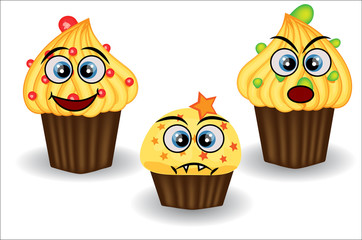 Cute and colorful kawaii style muffin emoticons collection expressing different emotions or feelings.
